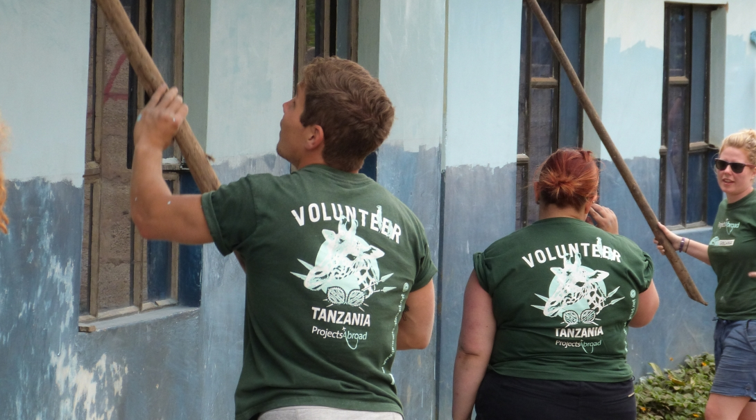 Volunteers paint a building during a non religious mission trips from Canada